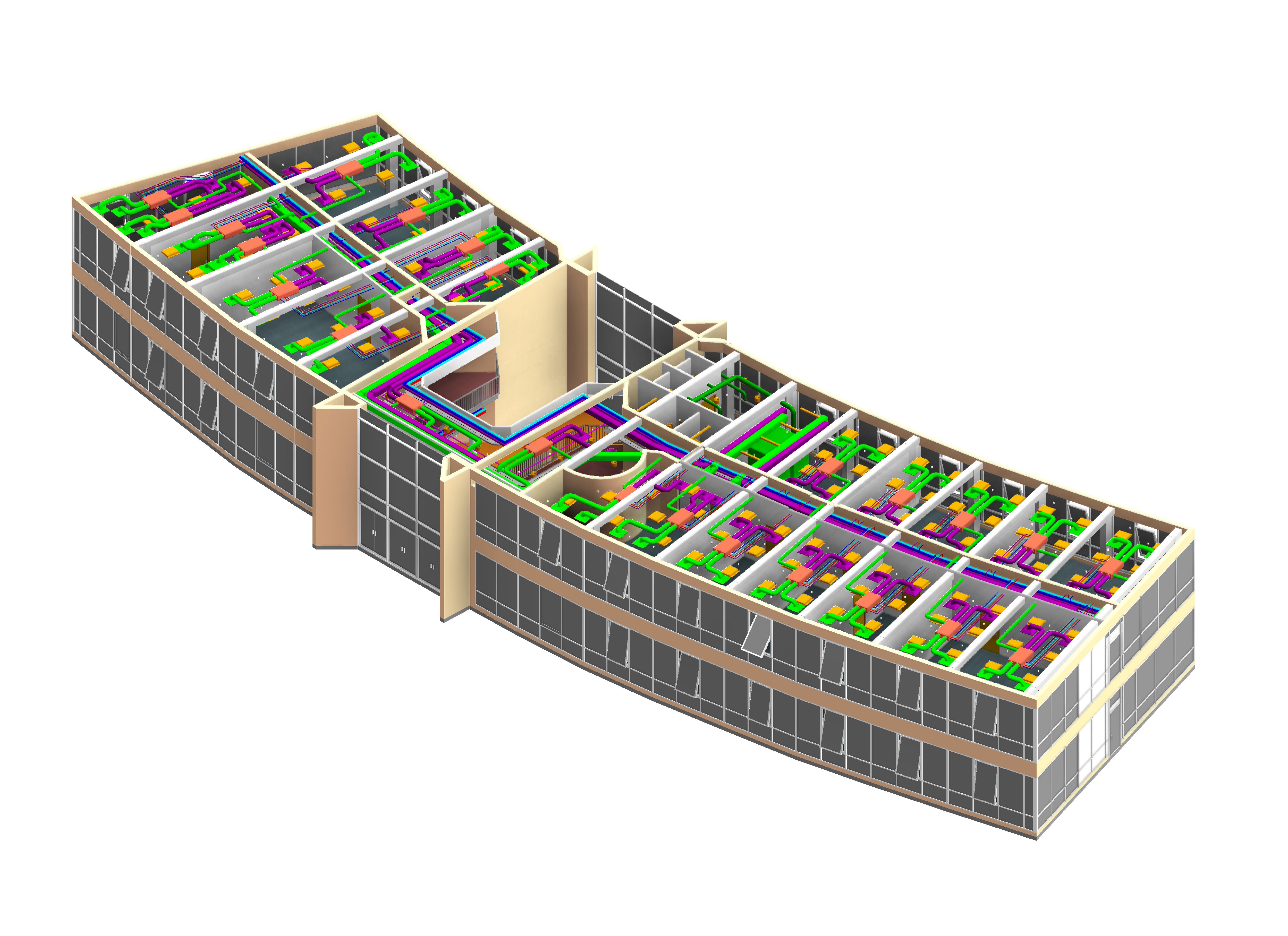 vue globale d'un bâtiment et du réseau technique en 3D MEP